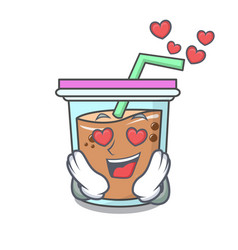 In love bubble tea mascot cartoon vector