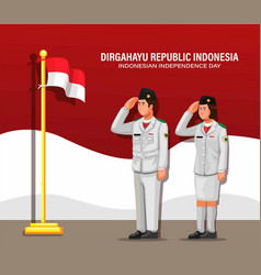 Indonesian independence day with paskibraka vector