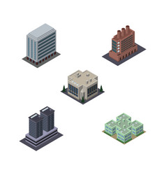 Isometric building set of clinic company office vector