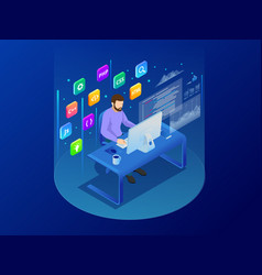 isometric programmer coding new project sitting on vector image