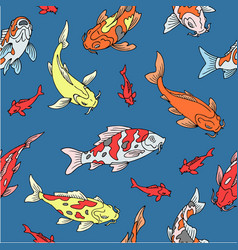 japanese carps koi seamless pattern fishes vector image