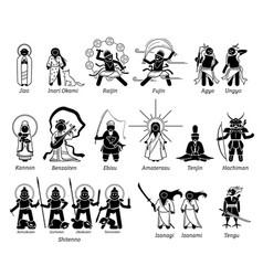 Japanese kami god goddess deities stick figure vector
