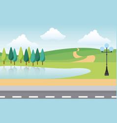 Landscape park and city vector