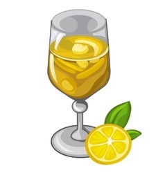 Lemon cocktail or smoothie in glass drinks vector