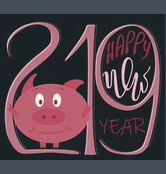 lettering happy new year 2019 vector image