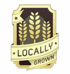 locally grown package label vector image