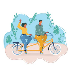 man and woman ride on bicycle vector image