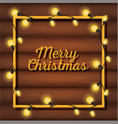 Merry christams card with lights vector