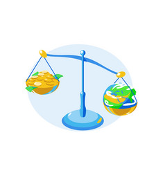 money and earth on bowls scales vector image