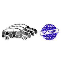 Mosaic car traffic icon with scratched by ship vector