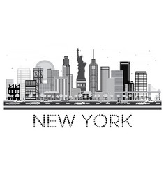 new york skyline in black and white color vector image
