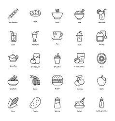 Organic food and drinks line icons pack vector