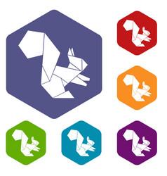 Origami squirrel icons hexahedron vector