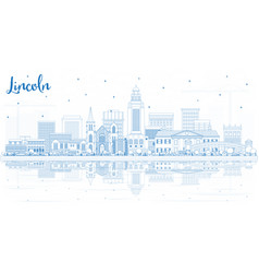 Outline lincoln nebraska city skyline with blue vector