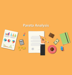 Pareto analysis with businessman working on paper vector