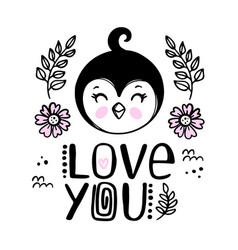 penguin love you bacartoon clip art vector image