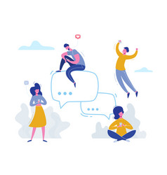 people chatting with phones on social media vector image