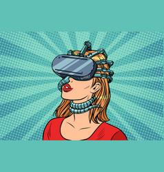 Pop art woman in virtual reality gadget parasite vector