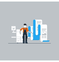 Print worker with printer and documents vector