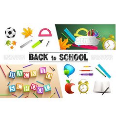 realistic school elements collection vector image
