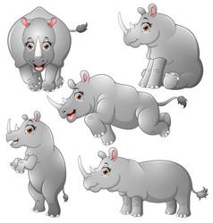 rhinoceros cartoon set collection vector image