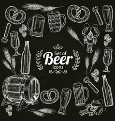 Round frame with beer icons vector