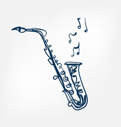 saxophone sketch isolated design vector image