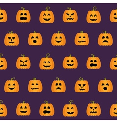 Seamless Halloween Pumpkin Faces pattern vector