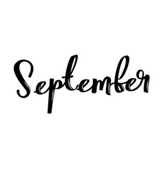 september month name handwritten calligraphic vector image