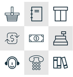 Set of 9 commerce icons includes buck spiral vector