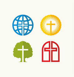 Set of christian logos and biblical symbols vector