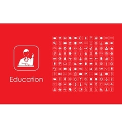 Set of education simple icons vector image
