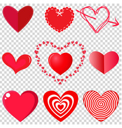 set of heart on transparent background vector image
