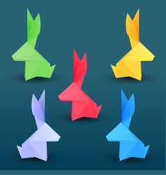 set of multicolored paper origami hares paper zoo vector image