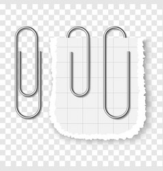 set of silver metallic realistic paper clip vector image