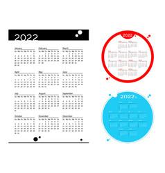 Set simple pocket calendar 2022 year on white vector