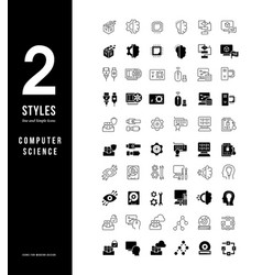 simple line icons computer science vector image