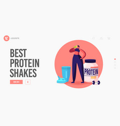 Sportswoman character drink protein cocktail vector