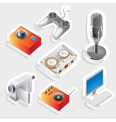 Sticker icon set for entertainment devices vector image