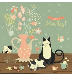 Still-life with a bouquet flowers and cats vector