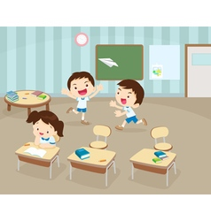 Students playing in Classroom vector image