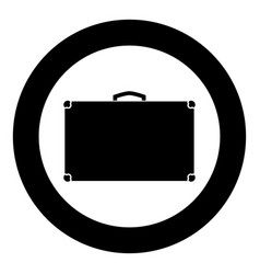 suitcase icon black color in circle vector image