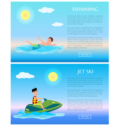 swimming and jet ski rest on sea summer time vector image