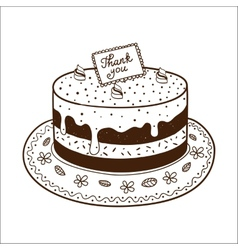 Tasty cake pie with thanksgiving nameplate vector