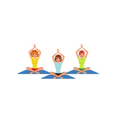 three women sitting in lotus position with hands vector image