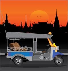 Tuktuk temple thailand 1 vector