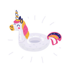unicorn swimming pool ring tube float vector image