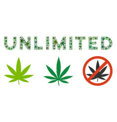 Unlimited text composition of marijuana vector