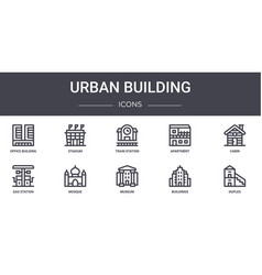 Urban building concept line icons set contains vector