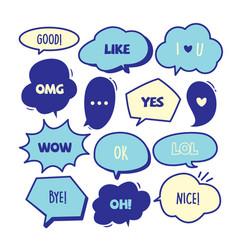 various cute speech bubble doodle stickers set vector image